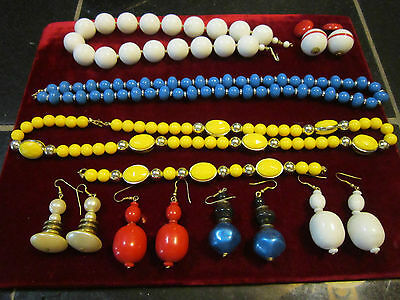 RED,WHITE,BLUE&,YELLOW VINTAGE BEADED NECKLACES,BRACELET AND EARRINGS
