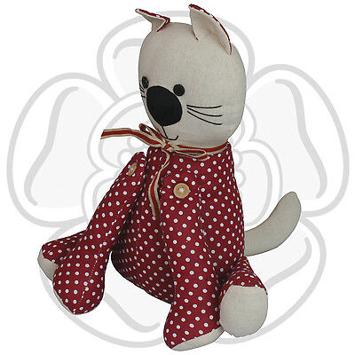 JVL Cute Cat Pet Animal Whiskers Fabric Door Stop Polka Dot Heavy Weighted Home