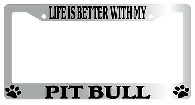 PITBULL Auto 504 PAW Chrome METAL License Plate Frame I HEART MY