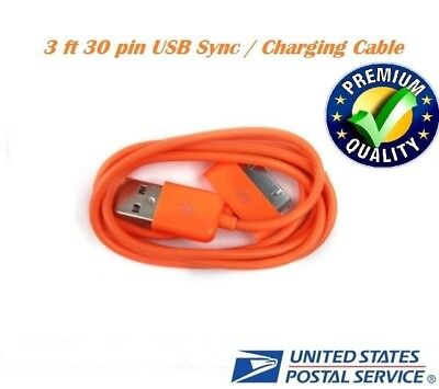 Orange 3ft 30 pin to USB Sync Data Charger Cable for iPad1 iPad2 iPad3 iPhone4