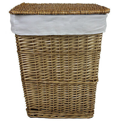 JVL Classic Lined Willow Wicker Linen Washing Clothes Laundry Basket 57x45x32cm