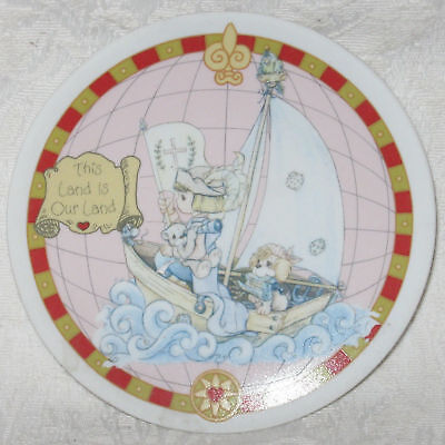 Precious Moments Mini Plate THIS LAND IS OUR LAND 1992