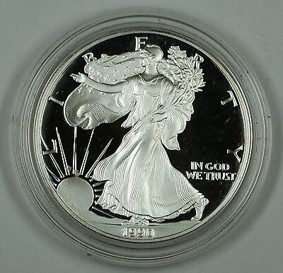 1990 Proof American Eagle Silver Dollar Coin, 1 Troy Oz .999 Fine