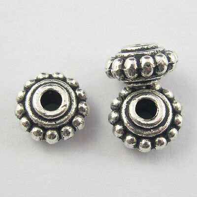 60Pcs Antiqued Silver Tone Round Spacer Beads Charms Jewelry Craft DIY 8mm