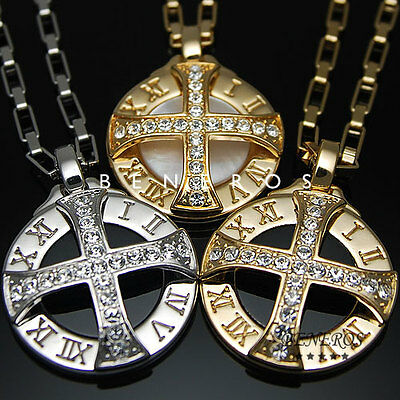 Sun Celtic Cross Roman Numeral Pendant Necklaces Gold Silver Plated Mens Jewelry