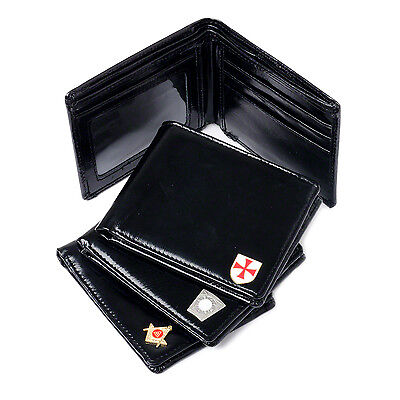 Quality Black Masonic Soft Real Leather Wallet Royal Arch Knights & Mark
