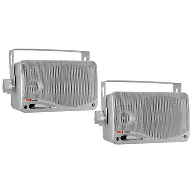 (2) Silver 3.5 inch Waterproof Boat Marine Car Surface Mnt Outdoor Box Speakers
