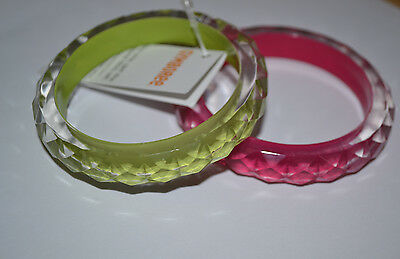 NWT Gymboree Girls Toddler 2 Pack of Pretty Green & Pink Bangle Bracelet 3+