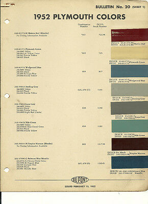 1952 PLYMOUTH Paint Sample COLOR CHIP CHART Brochure: DuPont
