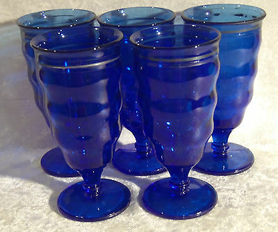 5 MT. PLEASANT COBALT DEPRESSION GLASS FOOTED TUMBLERS L E SMITH SILVER TRIM