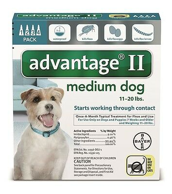 Bayer Advantage II Dog 11-20lbs Flea Treatment Topical Drops 4 month 100% Auth