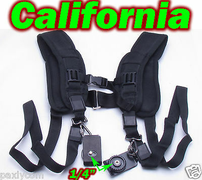 Quick Double Shoulder Belt Strap for Canon Nikon Sony SLR DSLR Cameras Camcorder