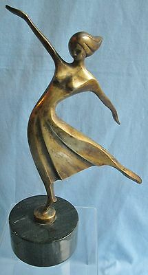 VINTAGE BRONZE ART DECO SCULPTURE FEMALE DANCER on BLACK MARBLE BASE #135/2750