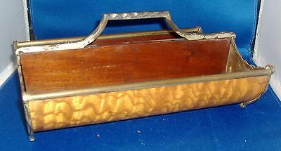 Antique 19th c. Wood Cutlery Tray Caddy Mahogany Paint Decorated Curly Maple