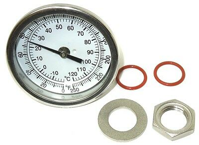 """3"""" Weldless Thermometer Kit 4"""" Stem 0-250F Home Brewing Kettle Mash New <557Kit"""