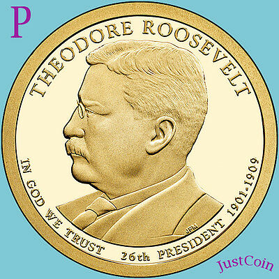 2013-P Theodore Roosevelt Golden Presidential Dollar From Uncirculated Mint Roll