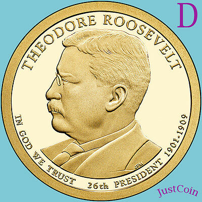2013-D Theodore Roosevelt Golden Presidential Dollar From Uncirculated Mint Roll