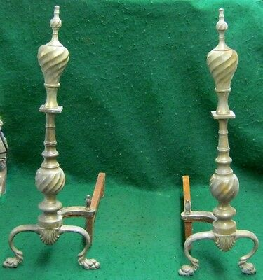 Pair of Vintage Brass Fireplace Andirons #1679-13