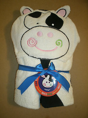 "NWT Zoocchini Casey the Cow Hooded Towel 100% Cotton 20"" x 50"" Swim Bath NEW"