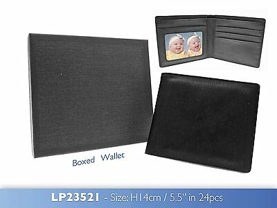Gents Black Gift Boxed Wallet Holds Notes Credit Cards Present Idea Faux Leather