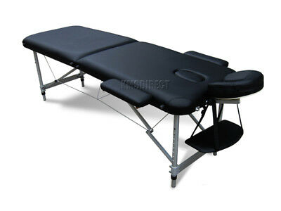 Light Weight Portable Massage Table Beauty Bed 2 Section ALU + Cover Bag Black
