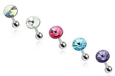 New Surgical Steel Tragus Helix Cartilage Piercing Bar with Circle Prism Gem