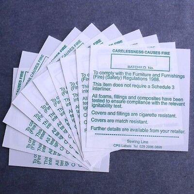 Furniture Upholstery DL7 Fire safety String Hanging Green Labels Tickets Pack