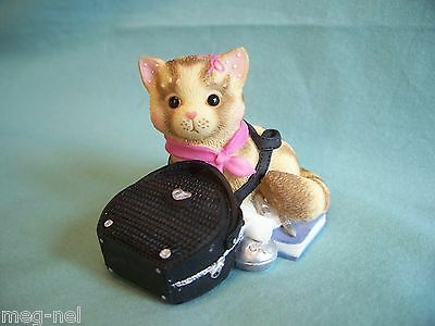 """Enesco Calico Kittens """"My Purr-suit of Happiness Led to You"""" Kitten in Purse Bag"""