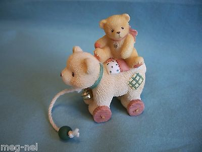 Cherished Teddies Antique Toy Girl on  Bear Pull Toy with Bell Mini Figurine