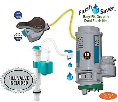 EasyFit Lever Handle Dual-Flush Deluxe Kit w/Tank Fill Valve * NO TANK REMOVAL *