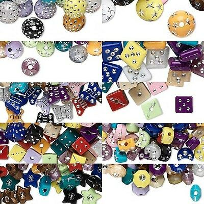 Huge Lot of Mixed Color Plastic Acrylic Beads w/ Silver Accents in Many Shapes