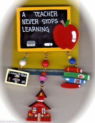 """""""A TEACHER NEVER STOPS LEARNING"""" Wooden Pins/Lot of 3/GREAT GIFTS/NEW LOW PRICE!"""