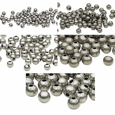 Huge Lot of 500 Antique Silver Finished Steel Metal Round Spacer Accent Beads