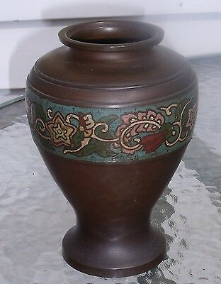 fine antique chinese bronze vase with floral cloisonne enamel inlay