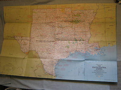 +VINTAGE THE SOUTH CENTRAL STATES MAP AR OK LA TX National Geographic  Oct. 1974