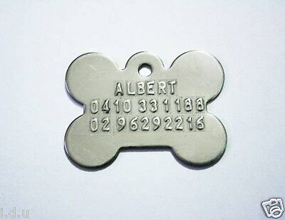 Pet Id Tag Personalised Customised Dog Cat Name Tags Free Text & 2 Split Rings