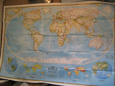 THE WORLD POLITICAL & PHYSICAL MAP National Geographic February 1994 MINT