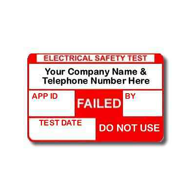 520 Fully Personalised FAILED PAT Test Labels For Plugs