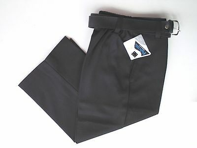 "Boys Smart Black Flat Front School Trousers Half Elastic, Belt,Size 22"", 3-4 Yrs"