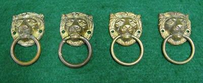 Set of 4 Vintage Brass Lion Head Drawer Pulls  #1728-13