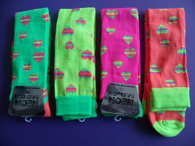 Neon over knee socks with hearts