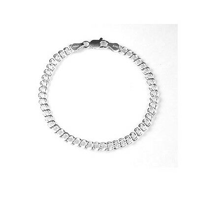 "Sterling Silver 925 Traditional Double Link Charm Bracelet (060) - 7"" or 8"""