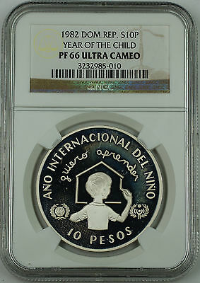 1982 Dominican Republic Silver 10 Pesos Proof Coin, NGC PF-66 UC, Year of Child