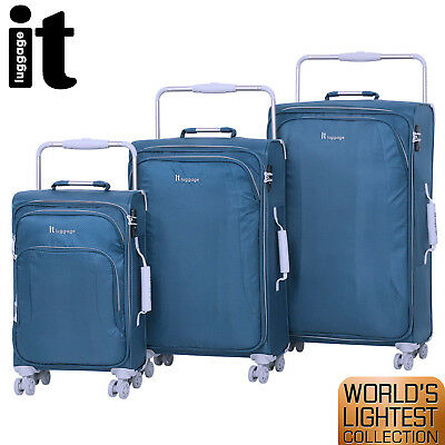 IT Luggage World's Lightest Trolley 3Pc Suitcase Set Cabin Bag TSA Lightweight