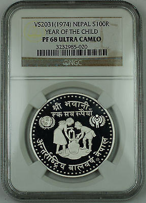 1974 VS2031 Nepal Silver 100 Rupee Proof Coin, NGC PF-68 UC, Year of the Child