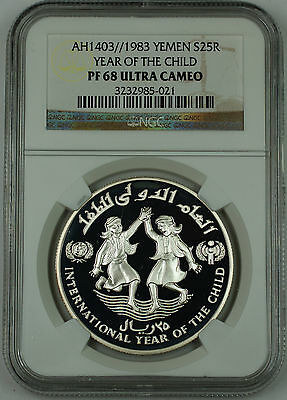 1983 AH1403 Yemen Silver 25 Riyals Proof Coin, NGC PF-68 UC, Year of the Child
