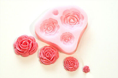 4 Cavities Rose Flower Silicone Mold Mould For Polymer Clay Fimo Craft Resin
