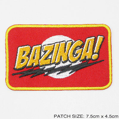 """BAZINGA"" From The Big Bang Theory Series Slogan Embroidered Iron-On Patch - NEW"