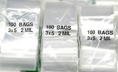 "300 Ziplock RECLOSABLE BAGS 3x5 CLEAR 2MIL POLY ZIP LOCK PLASTIC BAGS 3"" x 5"""