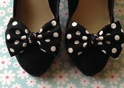 PAIR BLACK WHITE POLKA DOT SPOT COTTON SHOE CLIPS RETRO BOWS 50s VINTAGE STYLE